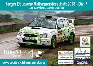 Dirk Klemund – Sieger Deutsche Rallyemeisterschaft 2013 DIv. 7